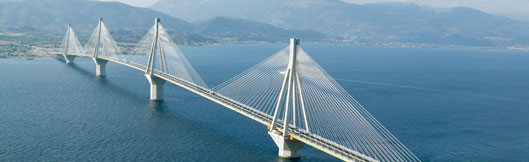 Rion Antirion Bridge Spanning Gulf of Corinth, Greece